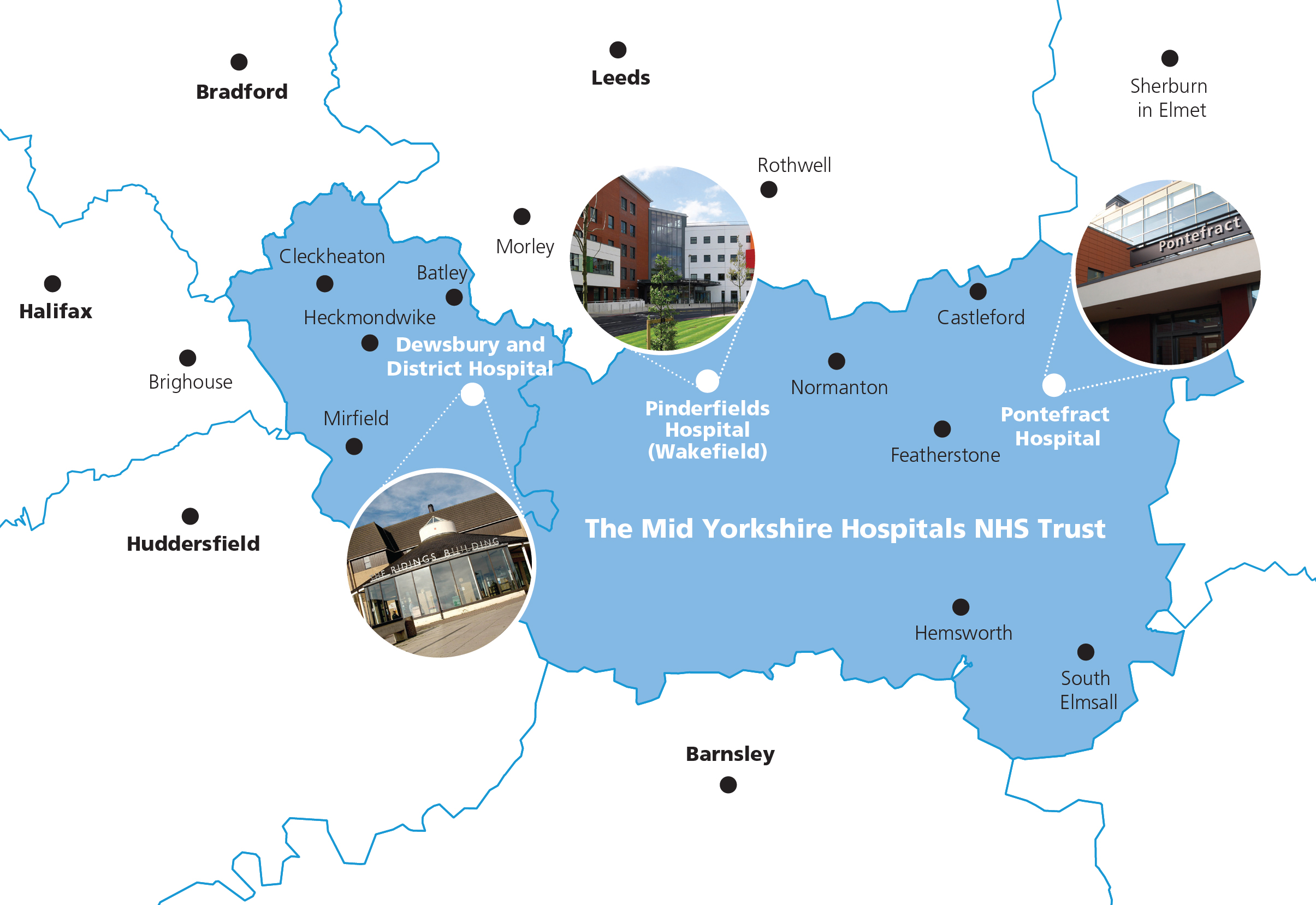 Map of Mid Yorkshire NHS Trust placement hospitals